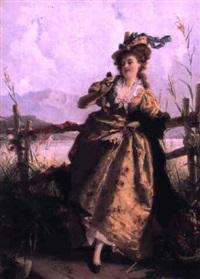 jeune femme au papillon by joseph watter