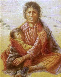 portrait of a native american woman cuddling a small child by gregory perillo