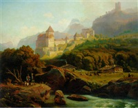 schloss frostberg in the tirol by johann friedrich stock