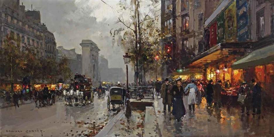 boulevard de bonne nouvelle with porte saint denis paris by edouard léon cortès