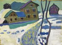 kochel, schneelandschaft mit häusern (kochel, snowy landscape with houses) by gabriele münter