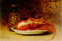 stilleben mit hummer und gurken in einem glas by antoine-ferdinand attendu