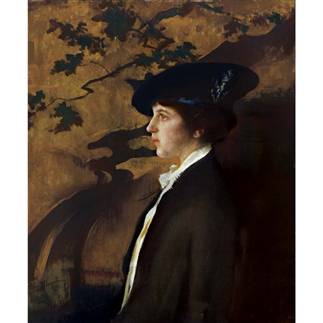 mary with a black hat by edmund charles tarbell