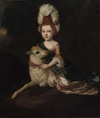 portrait of a girl in a pink dress, seated by a sheep by jan van der vaardt