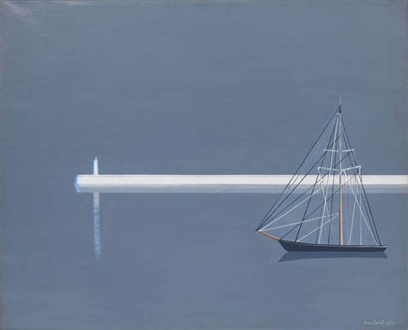 jetée blanche et bateau noir by amédée ozenfant