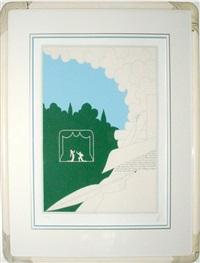writer in landscape by erté