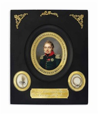 charles-ferdinand of bourbon (1778-1820), duc de berry, in dark green uniform with red collar, silver epaulettes, black stock by jean baptiste jacques augustin