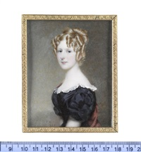 charlotte esther lister, wearing black dress with white lace trim, red stole, her blonde hair elaborately upswept and curled in ringlets by frederick cruickshank