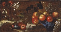 nature morte aux pommes, raisins et fleurs by tommaso realfonso