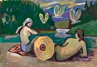 badende frauen an einem gebirgssee by roman selski