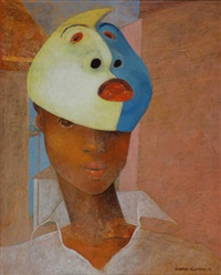 portrait of a woman with a mask by bernard séjourné