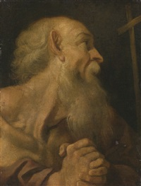 study of a bearded man by agostino carracci