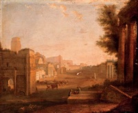 the roman forum with figures amongst ruins by giacomo van (monsù studio) lint