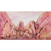 stage design for montemezzi's l'amore dei tre re (+ study for a cathedral interior, verso) by benito (beni) montresor