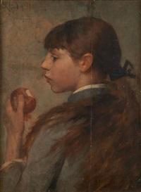 la jeune fille à la pomme by eugène verdyen