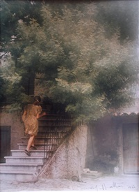 woman going up stairs by david hamilton