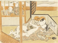 three chuban shunga prints: one from the series furyu shikizan ho (fashionable erotic encounters), depicting a couple making love out in the open air (3 works) by isoda koryusai