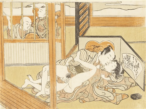 three chuban shunga prints one from the series furyu shikizan ho fashionable erotic encounters depicting a couple making love out in the open air 3 works by isoda koryusai