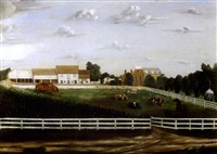 folk art farm scene of a du pont estate, center road, wilmington, delaware by r.e. smith
