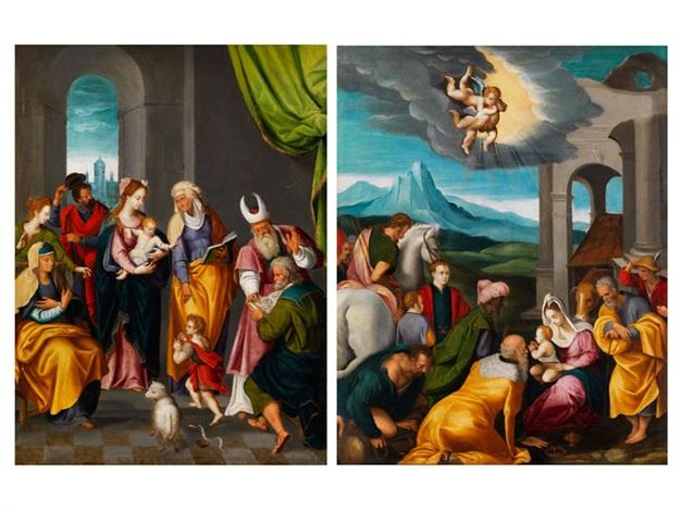 anbetung der könige die heilige familie mit der familie johannes des täufers pair by german school northern 17