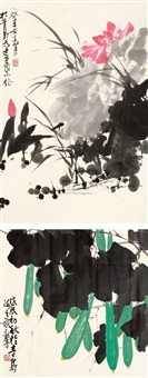 花卉 (二帧) (2 works, various sizes) by ma longqing