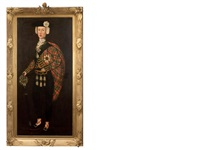 a portrait of charles edward stuart standing full-length wearing highland dress with the order of the thistle and holding a sword by scottish school (19)
