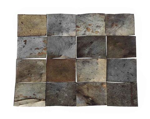 16 tinned copper square in 16 parts by carl andre