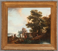 travelers in a landscape crossing a bridge by philips wouwerman