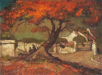landscape with flamboyant tree by lee man fong