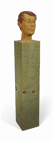 mans head on a column by stephan balkenhol