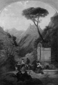 italienische gebirgslandschaft mit frauen am brunnen by thomas brabazon aylmer