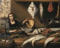 a fishwife at a fish-stall, an estuary seen through a casement beyond by willem ormea