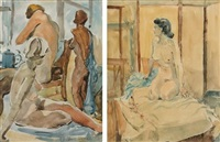 nude and three women, two in the lot by frank sydney spears