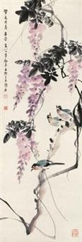紫藤花鸟 by zhang zhengyin