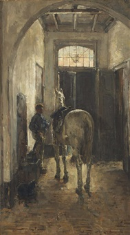 preparing for the ride, the hague by isaac israels