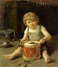 young boy with drum by carl anton reichel