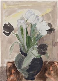 tulpen im schwarzen topf by erich heckel