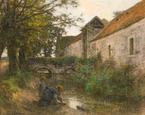 washerwomen by the small bridge on rue chailly by léon augustin lhermitte