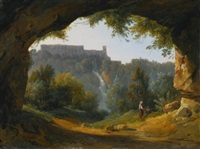 view of tivoli from a grotto by jean charles joseph remond