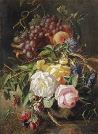 roses, wild cornflowers, several other flowers, grapes and peaches in a vase on a stone ledge by adriana johanna haanen