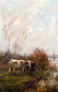 twee koeien aan de waterkant by willem maris
