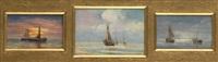 de l'aube au crépuscule en mer (triptych) by charles louis langenbick