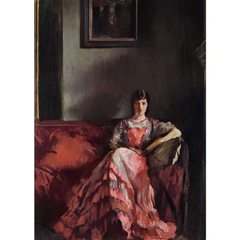 mercie in room interior by edmund charles tarbell
