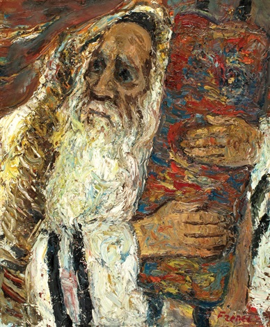 rabbi with a torah scroll by isaac frenel