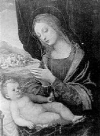 madonna con bambino entro paesaggio by andrea solario