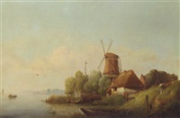 a summer landscape with a windmill on a riverbank by karl adloff