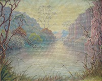 a verdant lake scene, swartruggens by piet van emmenis