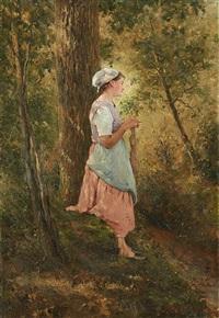 tricoteuse au bord du ruisseau by frans jan simons