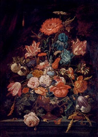 roses, carnations, parrot tulips, narcissi and other flowers in an urn on a ledge, with a snail, butterfly and dragonfly, before a curtain by abraham mignon