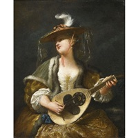 a lady playing a mandolin by jean barbault